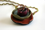 Multi-media necklace - polymer clay, copper, handmade fiber cord