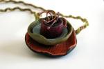 Multi-media necklace - polymer clay, copper, handmade fiber cord